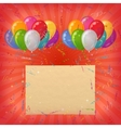 Holiday Background Balloons with Paper vector image