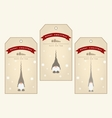 Vintage christmas gift tags with cute gnomes vector image
