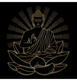 Gold Buddha sitting on Lotus with beam of light vector image