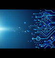 Abstract circuit board with social icon on blue vector image