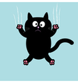 Cartoon black cat claw scratch glass background vector image