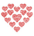 love hearts shape fabric textured icon vector image