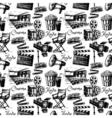 Sketch movie film cinema seamless pattern Hand vector image