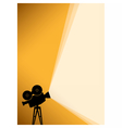 Silhouette of Cinema camera on yellow banner vector image vector image