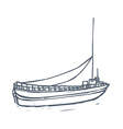 A ship is floating vector image