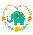 card with lovely cute pattern elephant in the vector image