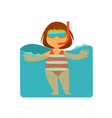 girl kid or child swimming in sea water vector image
