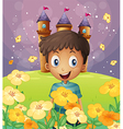 A happy boy in front of the castle at the hilltop vector image vector image