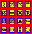 Traffic sign icons on red background vector image