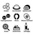 Austrian food - traditional meals an drink icons vector image vector image