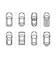 set outline cars top view car icons vector image