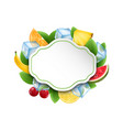 food clean card with fruits and berries ice cubes vector image