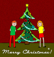 Kids with Christmas tree vector image