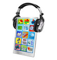 Mobile phone music headphones vector image