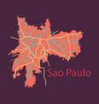 sao paulo brazil flat map isolated on background vector image