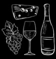 wine hand drawn sketch chalk on blackboard vector image