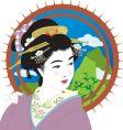 geisha girl vector image vector image