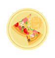 cartoon pizza with tomato mushroom olive meat vector image