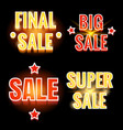 sale lettering shining banners vector image