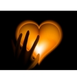 Hand in heat from gold heart cold vector image vector image
