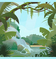 rainforest in jungle with palms and waterfall vector image