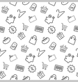 Shopping seamless pattern background in thin line vector image