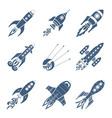 Rockets Black Icon Set vector image