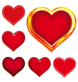 collection of 6 valentines hearts vector image vector image