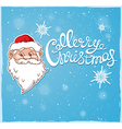 Blue Christmas background with Santa Claus vector image