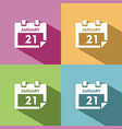calendar icon with shade on colored background vector image