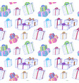 christmas gift boxes seamless pattern hand drawn vector image