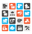 Silhouette cloud services and objects icons vector image vector image