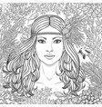 girl among the corals coloring page vector image