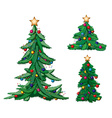 Set of ornate Christmas trees vector image