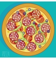 Pizza with sausages vector image