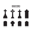 Tombstone silhouette icons isolated on white vector image vector image