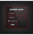 red member login ui on black background vector image