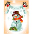 christmas card snowman vector image vector image