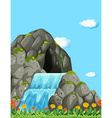 Scene with waterfall and field vector image