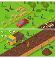 Farming Concept 2 Isometric Banners Set vector image
