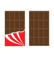 chocolate bar icon set opened red wrapping paper vector image
