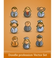 doodle profession set isolated on orange vector image