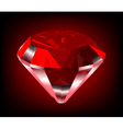 Shiny red diamond vector image