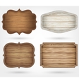 Wooden signs collection 4 realistic wooden signs vector image