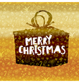 Merry Christmas lettering on black gift box Gold vector image vector image