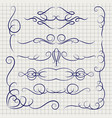pen decorative ornaments on notebook page vector image