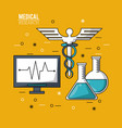color poster medical research with pulse monitor vector image