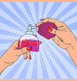 pop art woman hands holding bottle of perfume vector image