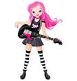 Rock star girl playing guitar vector image vector image