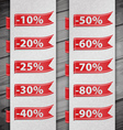 Set of percent discount digits vector image vector image